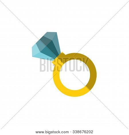 Vector Flat Icon Of A Ring With Huge Diamond On It. Simple Ring Illustration With Incrustrated Expen