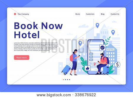 Hotel Booking Website. Mobile App For Tourists And Travellers, Hotel Room Reservation Digital Servic