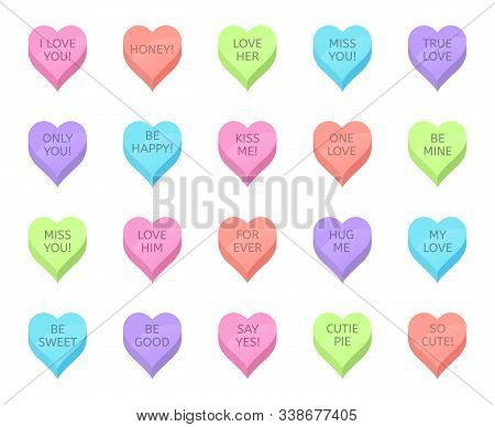 Love candy hearts. Valentines day treats, sweet heart candies and romantic love traditional sweets. Holiday lovely heart shaped sweetmeats vector isolated illustration set. Romance stickers pack poster