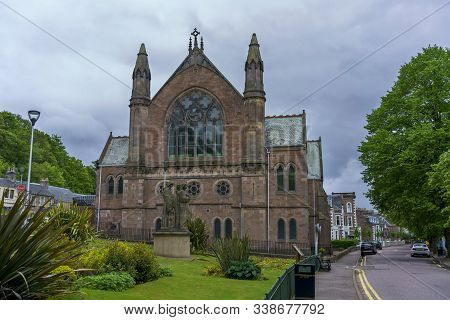 Inverness , Scotland - May 23 , 2019 : Ness Bank Church Is On The Bank Of The River Ness In Invernes