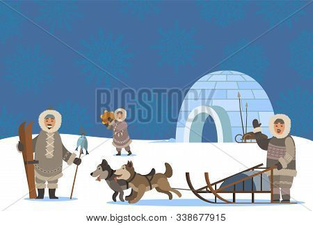 Settlement Of Arctic People. Characters Living In Cold Climate. Igloo House Made Of Ice Cubes. Man T