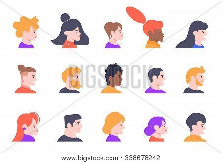 Profile People Portraits. Face Male And Female Profiles Avatars, Young People Characters Heads Profi