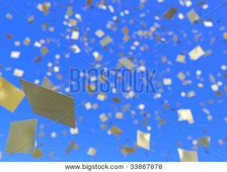 Gold confetti falling from a blue sky.