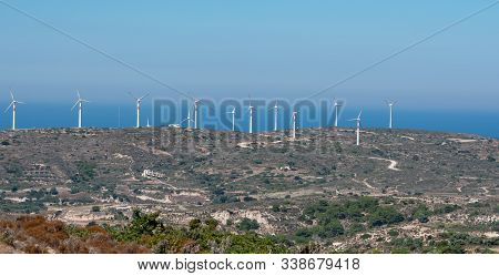 Wind Turbines Onshore On The South Coast On The Island Of Kos Greece