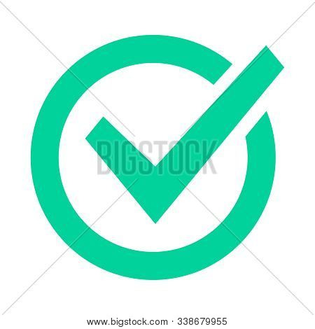 Check Mark Sign. Checklist Green Marking Logo, Check Web Pictogram, Positive Checked Confirm And Acc