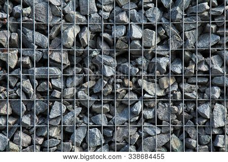 Gabion, Texture, Background. Gabion Net Frequent Part (design). New Technologies In The Manufacture