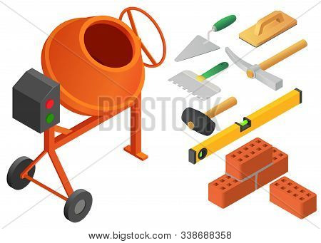 Masonry Worker Icons Set. Isometric Set Of Masonry Worker Vector Icons For Web Design Isolated On Wh