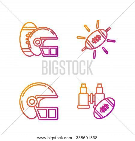 Set Line Binoculars And American Football Ball, American Football Helmet, American Football Ball And