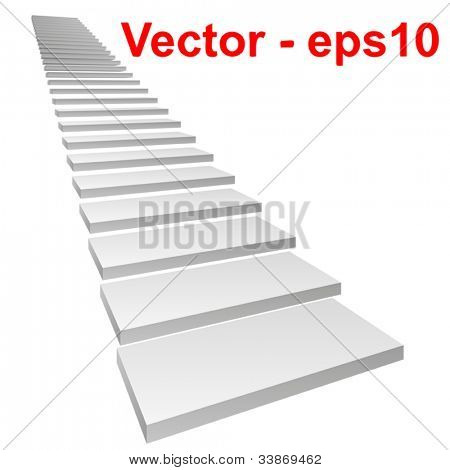 Vector or vectorial concept or conceptual 3D white concrete stair isolated on white background, for business,progress,achievement,growth,career,success,development,faith,religion or vision designs
