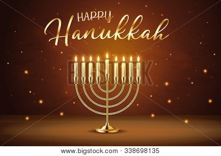 Happy Hanukkah Greeting Card With Gold Inscription And Golden Realistic Menorah, Candlestick With Bu