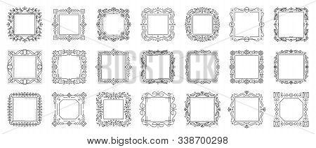 Decorative Vintage Ornamental Frame Set. Text Frames For Certificate, Menu, Book, Wedding Card Desig