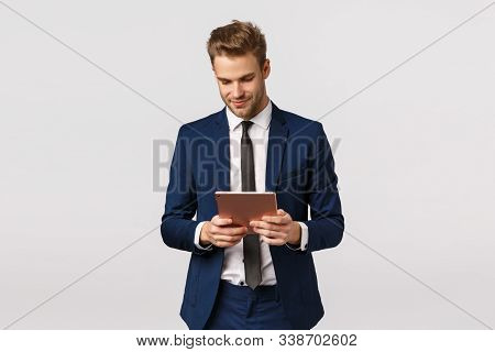 Corporate, Business And Finance Concept. Handsome Confident And Elegant Young Bearded Blond Man, Mal