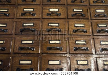 Dark Brown Wooden Card Catalog Furniture. Retro Library Concept