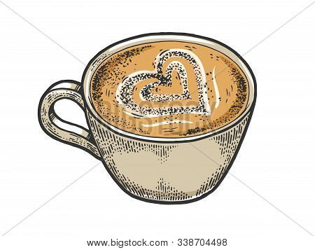 Cup Of Latte With Art Heart Sketch Engraving Vector Illustration. Coffee Artwork. T-shirt Apparel Pr