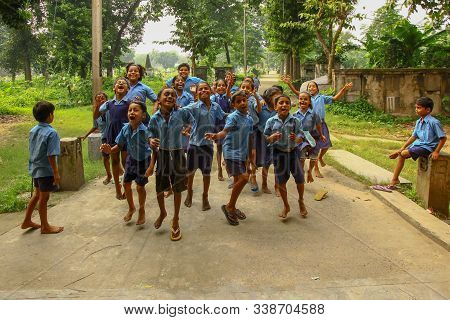 Dec 12, 2019. Kolkata, India. A Group Of Unidentified Jovial Young Children In School Uniform. These