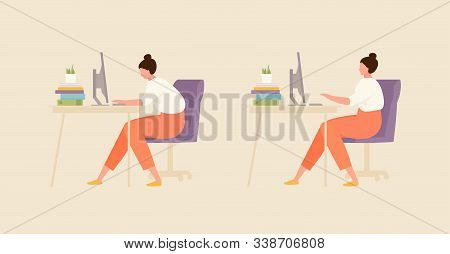 Sitting Girl With Correct And Incorrect Posture. Office And Workplace Hygiene Illustration