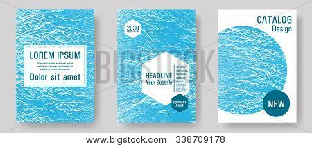 Annual Report Covers Design Set. Blue Sea Water Waves Texture Backdrops. Advertising Banner Or Cover
