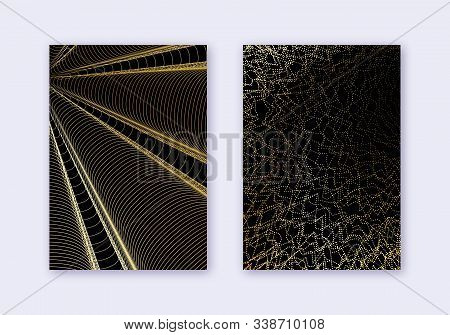 Cover Design Template Set. Abstract Lines Modern Brochure Layout. Gold Vibrant Halftone Gradients On