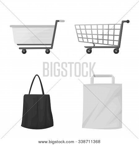 Vector Illustration Of Cart And Market Logo. Set Of Cart And Pushcart Vector Icon For Stock.