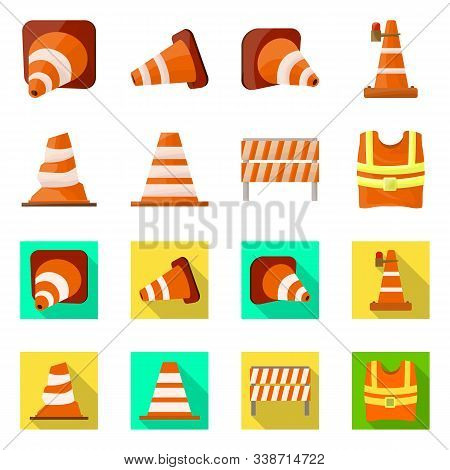 Vector Illustration Of Obstacle And Transportation Symbol. Set Of Obstacle And Equipment Vector Icon