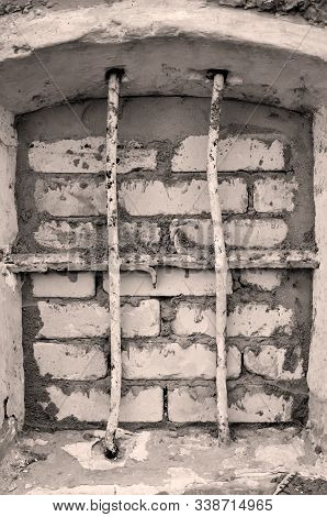The Window Of A Former Prison, Detention Cell Of A Soviet Garrison