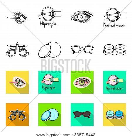 Vector Design Of Optometry And Medicine Logo. Set Of Optometry And Diagnostic Stock Vector Illustrat