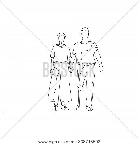Continuous One Line Man And Woman Hold Hands, A Man Has A Prosthetic Leg. Disabled People. Vector Il