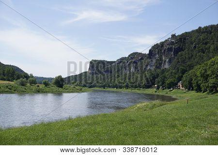 View From Kurort Rathen To Stadt Wehlen In Saxon Switzerland, Germany
