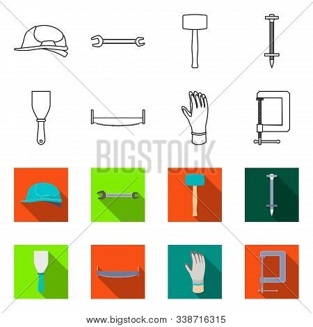 Vector Design Of Renovation And Household Logo. Collection Of Renovation And Handicraft Stock Symbol