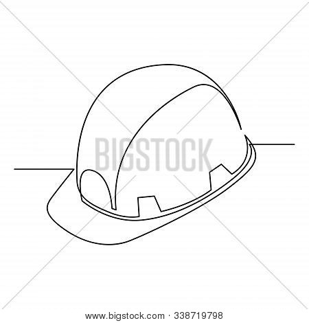 Continuous One Line Construction Helmet - Hard Hat. Safety Concept. Vector .