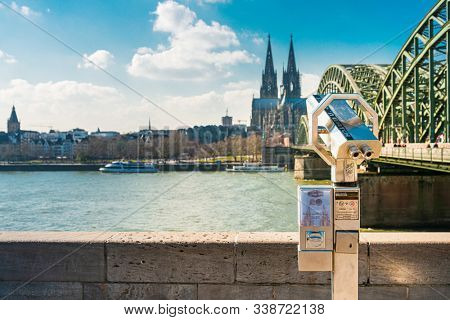 COLOGNE, GERMANY- March 14, 2018 : COLOGNE, GERMANY- March 14, 2018 : View on Cologne Cathedral and river Rhine, Germany