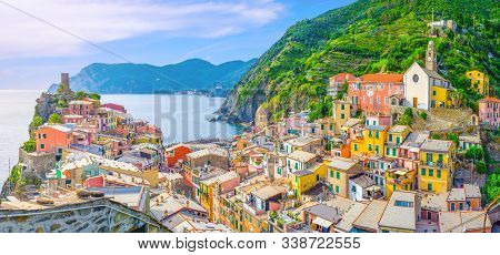 Vernazza Village With Typical Colorful Multicolored Buildings Houses, Castello Doria Castle On Rock,