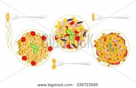 Banner National Spaghetti Day. Set Of Stylish Pasta With Fork. Plates With Different Dish Spaghetti.