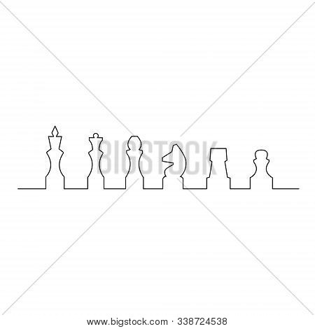 Continuous One Line Chess Piece Or Chessman. King, Queen, Bishop, Knight, Rook, Pawn. Vector Illustr