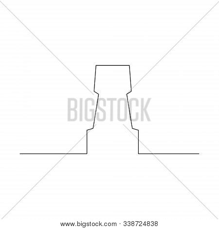 Continuous One Line Chess Piece Or Chessman, Rook. Vector Illustration.