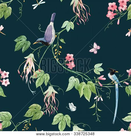 Watercolor Vector Floral Pattern With Blue Birds Of Paradise And Pink Delicate Flowers. Stock Illust