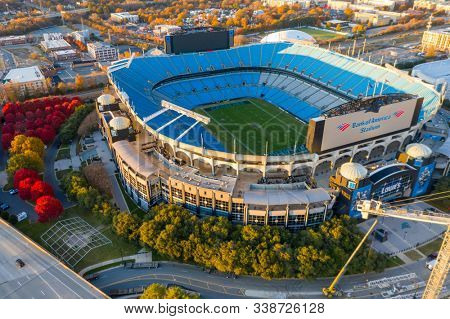 November 24, 2019 - Charlotte, North Carolina, USA: Bank of America Stadium is home to the NFL's Carolina Panthers in Charlotte, NC.