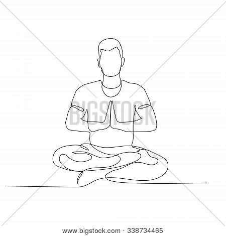 Continuous One Line Man Sitting In Lotus Position. Yoga. Vector Illustration.