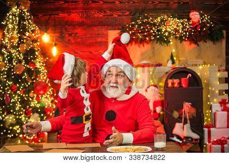 Dear Santa. Cute Little Boy Writing Letter To Santa Claus At Home. Christmas Helper Child Writing Le