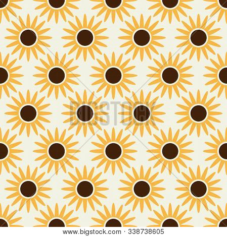 Abstract Geometric Shape Sun Flower Seamless Pattern. Perfect For Backgrounds, Fabric, Backdrop, Wal
