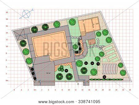 Landscaping. Plan Of The Garden. Drawing. Freehand Sketch. Vector.