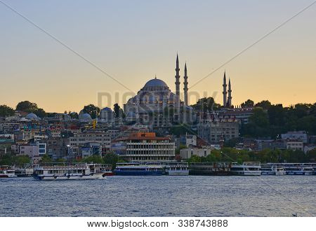 Istanbul, Turkey - September 6th 2019. Suleymaniye Mosque At Dusk. This Ottoman Imperial Mosque, Loc