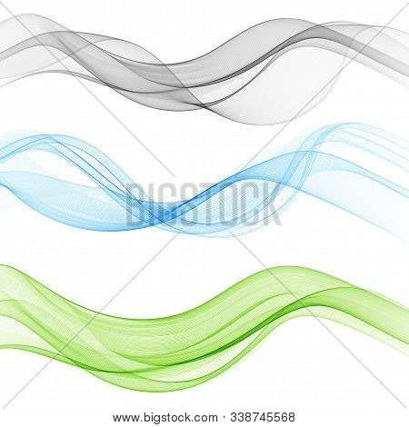 Vector Set Abstract Wave Pattern. Blue Wave. Green Wave. Gray Wave. Transparent Wave Set. Color Wave