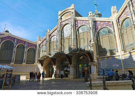 Valencia, Spain - Novemer 27, 2019: Exterior Of Mercat Central (central Market) Of Valencia, Spain