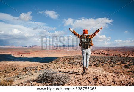 Happy young hiker in the desert, Arizona