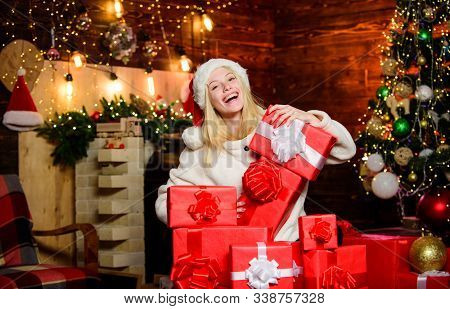 Thrilling Emotions. Happiness And Joy. Festive Mood. Present Concept. New Year Is Coming. Merry Chri
