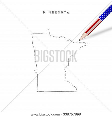 Minnesota Us State Vector Map Pencil Sketch. Minnesota Outline Contour Map With 3d Pencil In America