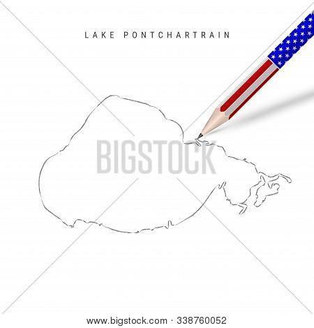 Lake Pontchartrain Vector Map Pencil Sketch. Lake Pontchartrain Outline Contour Map With 3d Pencil I