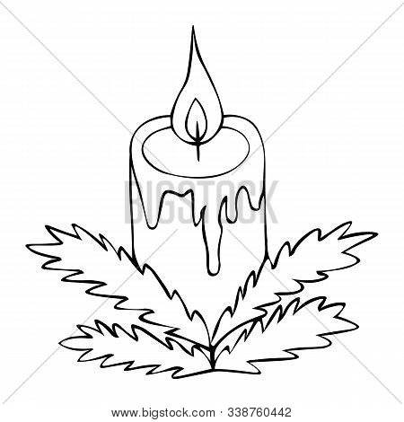 Christmas candle. Fir branches decoration. Vector illustration. Outline on an isolated background. Doodle style. Sketch. Coloring book for children. Magic attribute. The hot wax runs off. Hot flame. Divination. Christmas. Christmastide. New Year. Festive