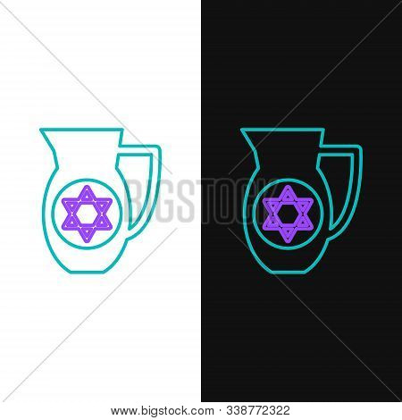 Green And Purple Line Decanter With Star Of David Icon Isolated On White And Black Background. Potte